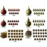 Mini Christmas Ornaments - Assorted Set of 96 Ornaments - Red and Gold Mini Ball Ornaments - Pinecones and Presents - Each Ornament is Approximately One Inch