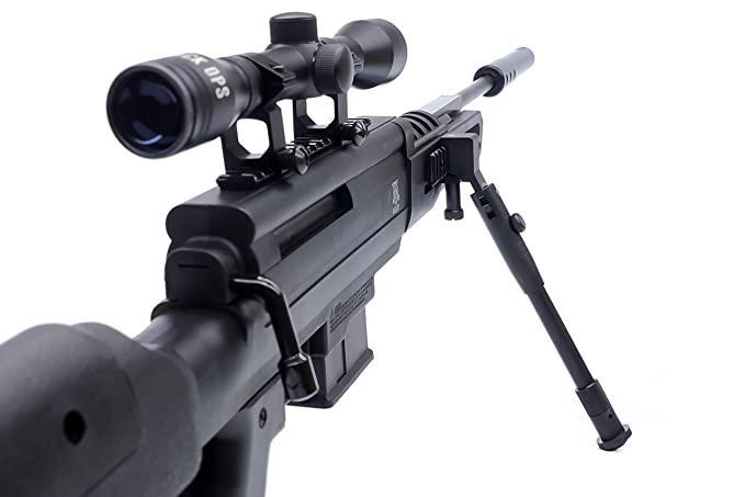 Black Ops Sniper Rifle S - Hunting Pellet Air Rifle Airgun with Suppressor  - Included Scope and Bipod - Shoot  177 Caliber Pellets Ammo