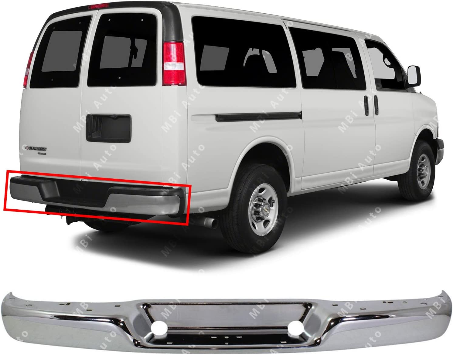 MBI AUTO Rear Bumper Face Bar Shell for 1996-2018 Chevy Express /& GMC Savana Van 96-17 GM1102397 Chrome Steel