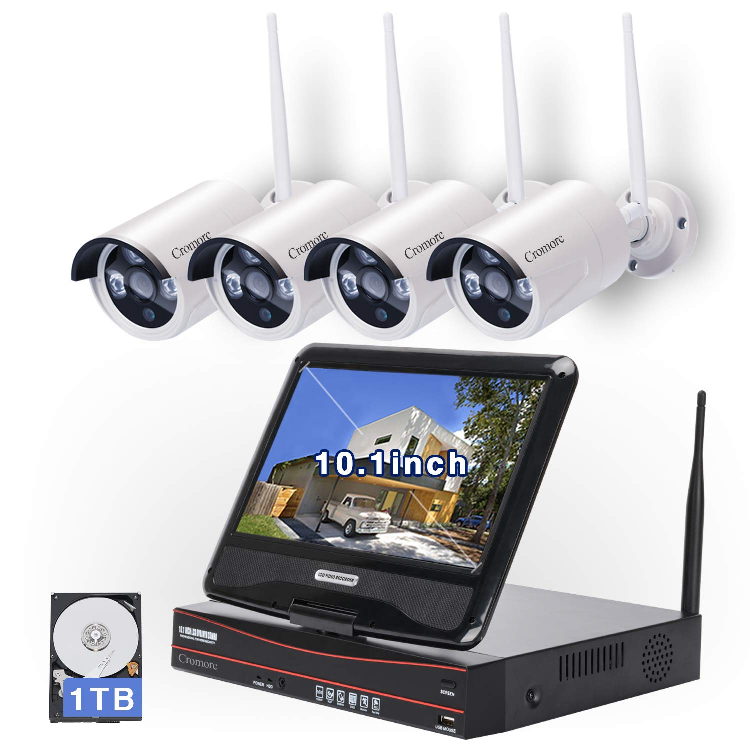 [8CH, Expandable] All in one with 10.1 inches Monitor Wireless Security Camera System, Home Business CCTV Surveillance 1080P NVR Kit, 4pcs 960P Indoor Outdoor Night Vision IP Camera, 1TB Hard Drive by Cromorc