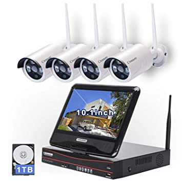 All in one with Monitor Wireless Security Camera System Home WiFi CCTV 4CH  1080P NVR Kit 3f69e5f58e