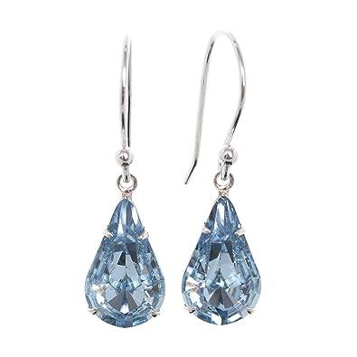 e498157e7 pewterhooter 925 Sterling Silver drop earrings expertly made with teardrop  Aquamarine Blue crystal from SWAROVSKI®. London Box: pewterhooter:  Amazon.co.uk: ...