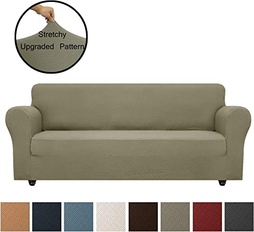 Sofa, Brown Obytex Stretch Sofa Cover Polyester and Spandex Upgrade Pattern Couch Covers Dog Cat Pet Slipcovers Furniture Protectors,Machine Washable