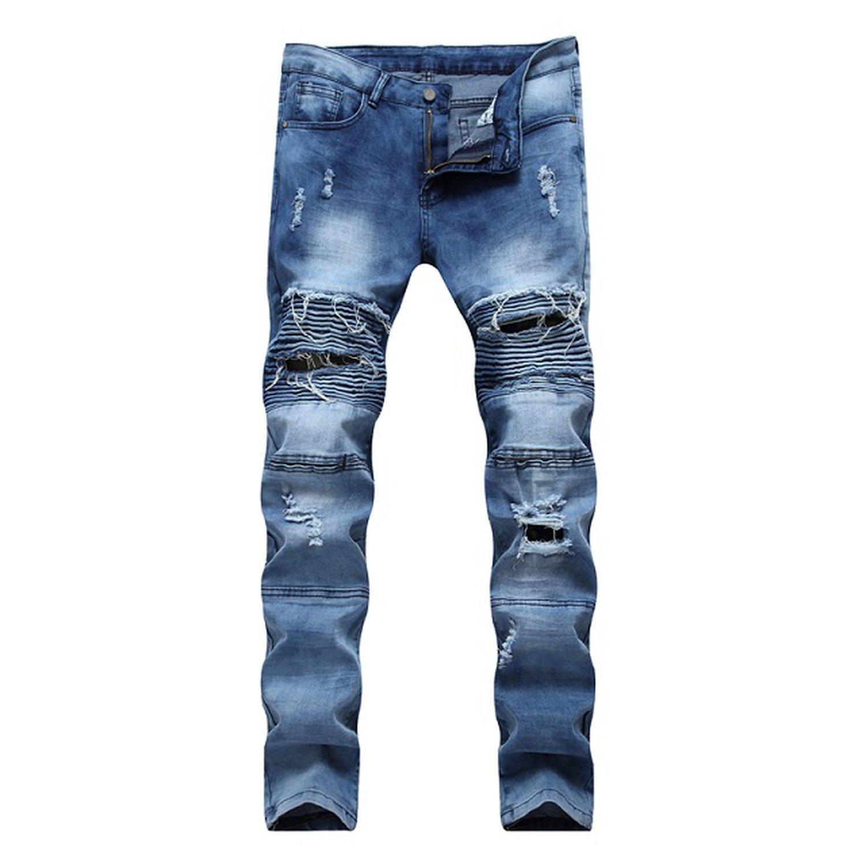 6cd9368d757f Memoriesed 2018 Jeans Hip hop Rock Moto Mens Designer Clothes Ripped Skinny  Denim at Amazon Men s Clothing store