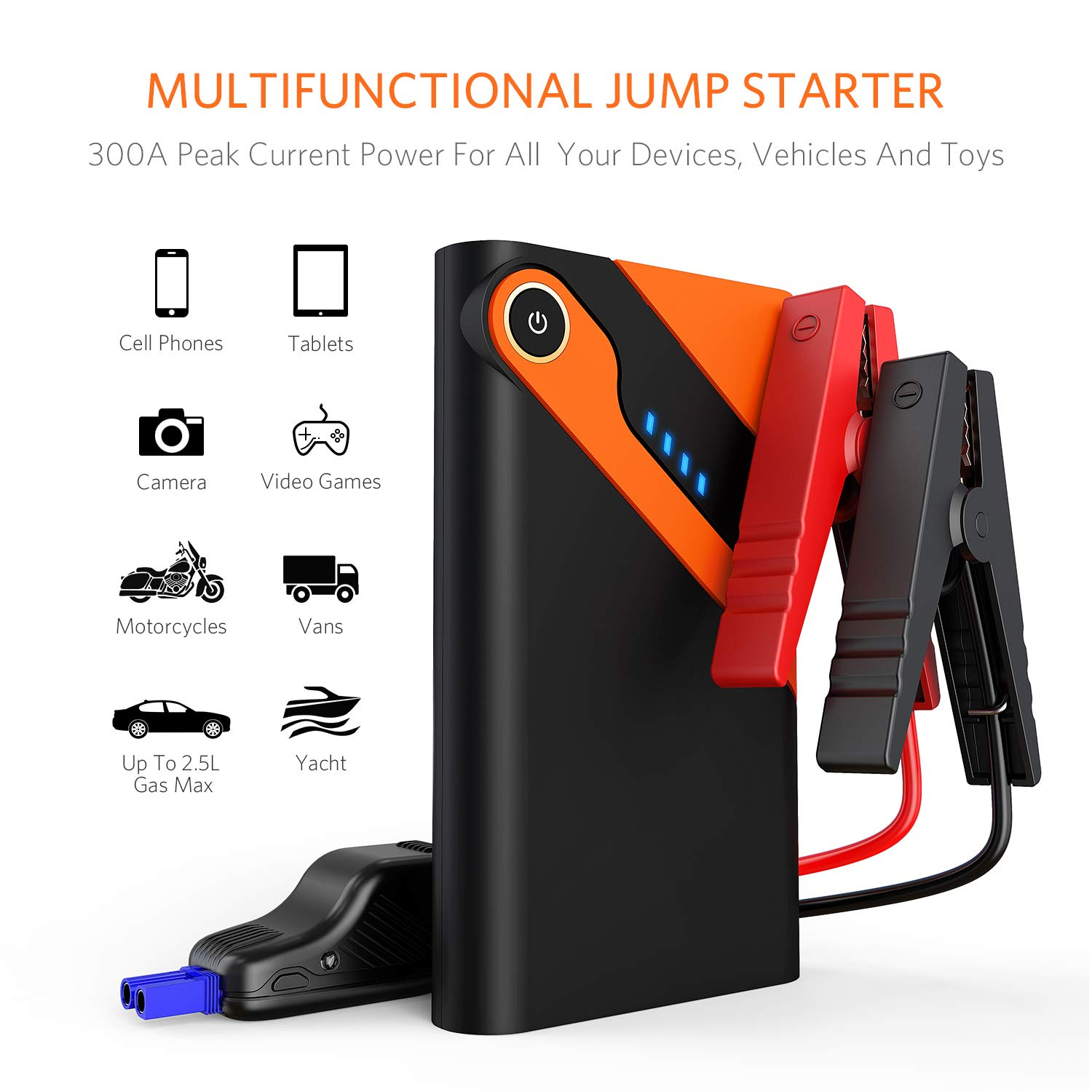 Car Jump Starter Auto Battery Charger and 8000mAh External Battery Charger Car Jumper for 12V Automotive, Motorcycle, Tractor, Boat, Phone with Clamps, LED Flashlight, 300A Peak 2.5L Gas Max by Alloyseed (Image #3)