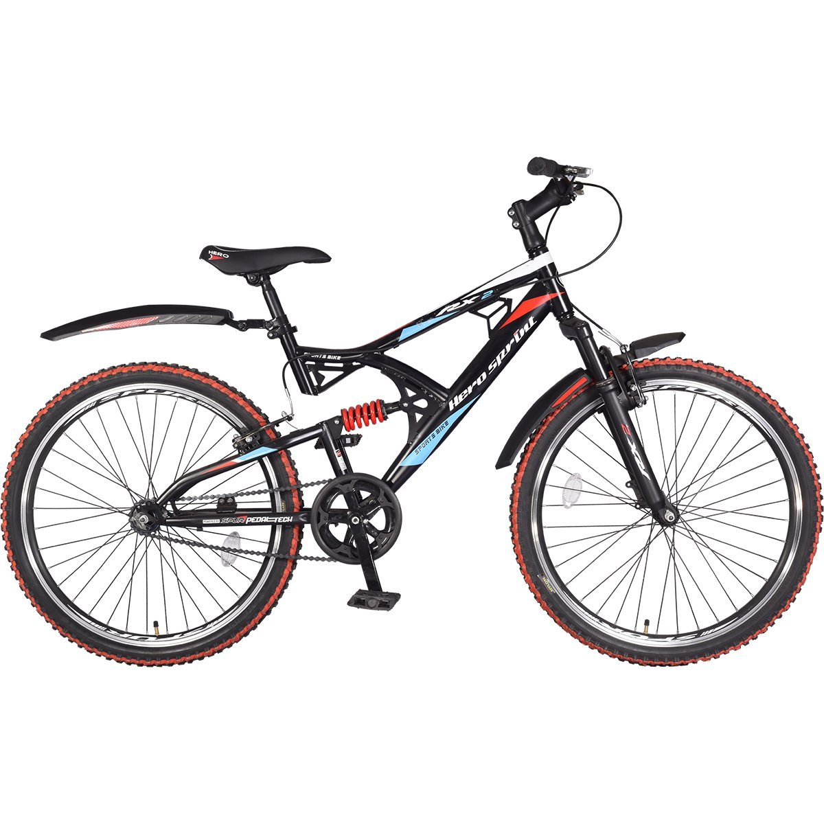Hero Rx2 26t 21 Speed Sprint Cycle With Disc Brake Black Red Excell 200 Light Stand Single Without