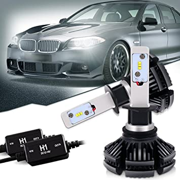 QUAKEWORLD 1 Paire H1 Bombilla PHI-ZES LED CHIP Faro de luz 50w 12000LM HeadLight Con decodificador kit Fit Honda BMW: Amazon.es: Coche y moto