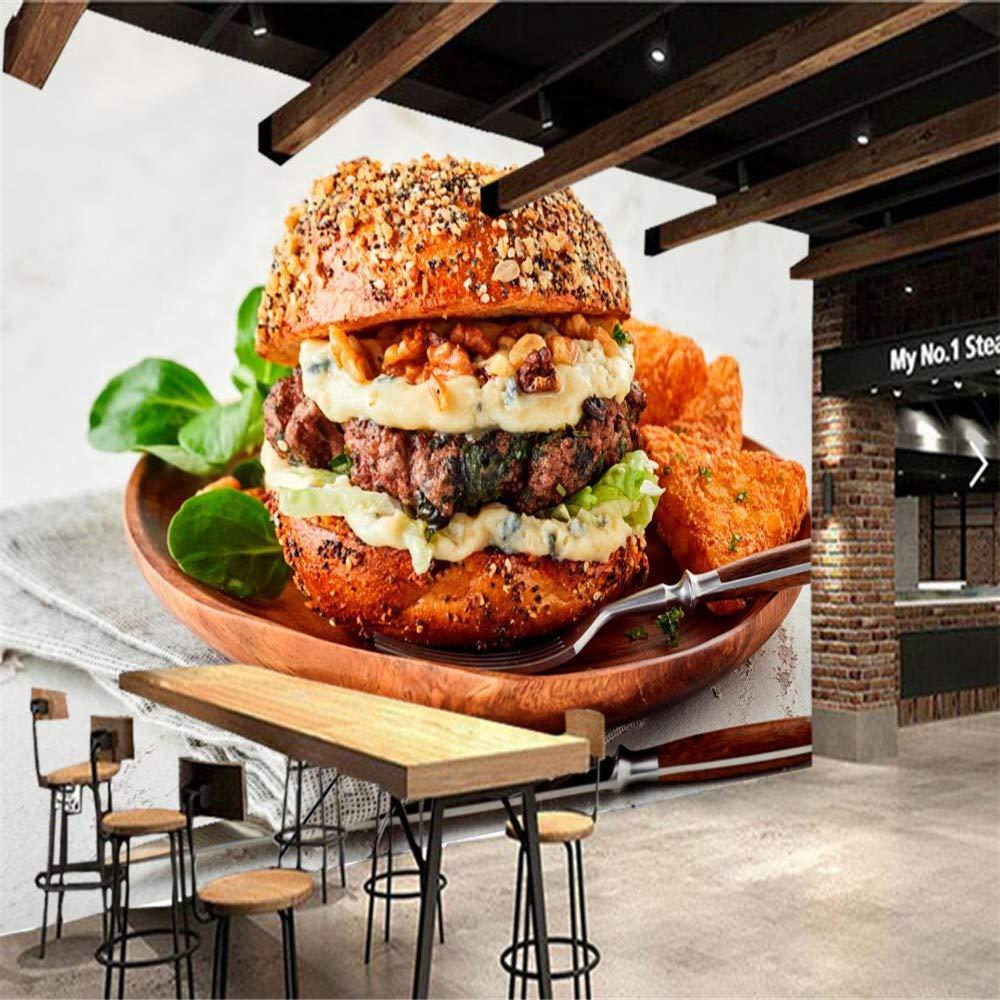 Lzxydbz Murales 3D Carne de Hamburguesa Comida rápida Papel Tapiz ...