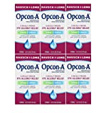 Bausch and Lomb Opcon-A Eye Allergy Relief Drops, Travel Size 0.5 FL OZ (15 ml) - Pack of 6