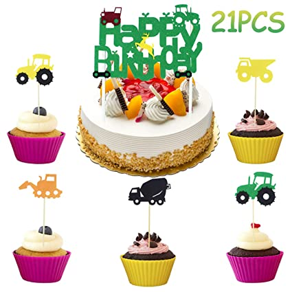 Image Unavailable Not Available For Color Green Tractor Happy Birthday Cake Topper