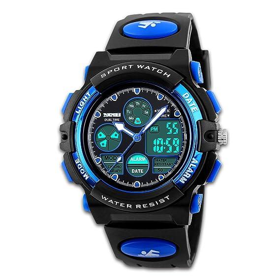 Yafang Digital Deportivo para hombre reloj Army relojes negro doble tiempo pantalla retroiluminación LED horaria Alarma Reloj: Amazon.es: Relojes