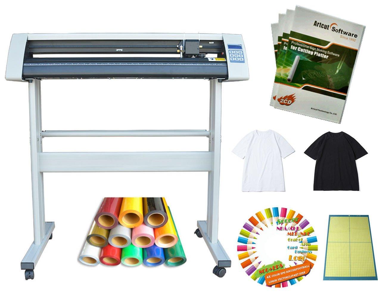 Techtongda 34'' Cutter Plotter T-Shirt 4colors Vinyl Cutting Mat Heat Press Transfer Vector Collections Bundle