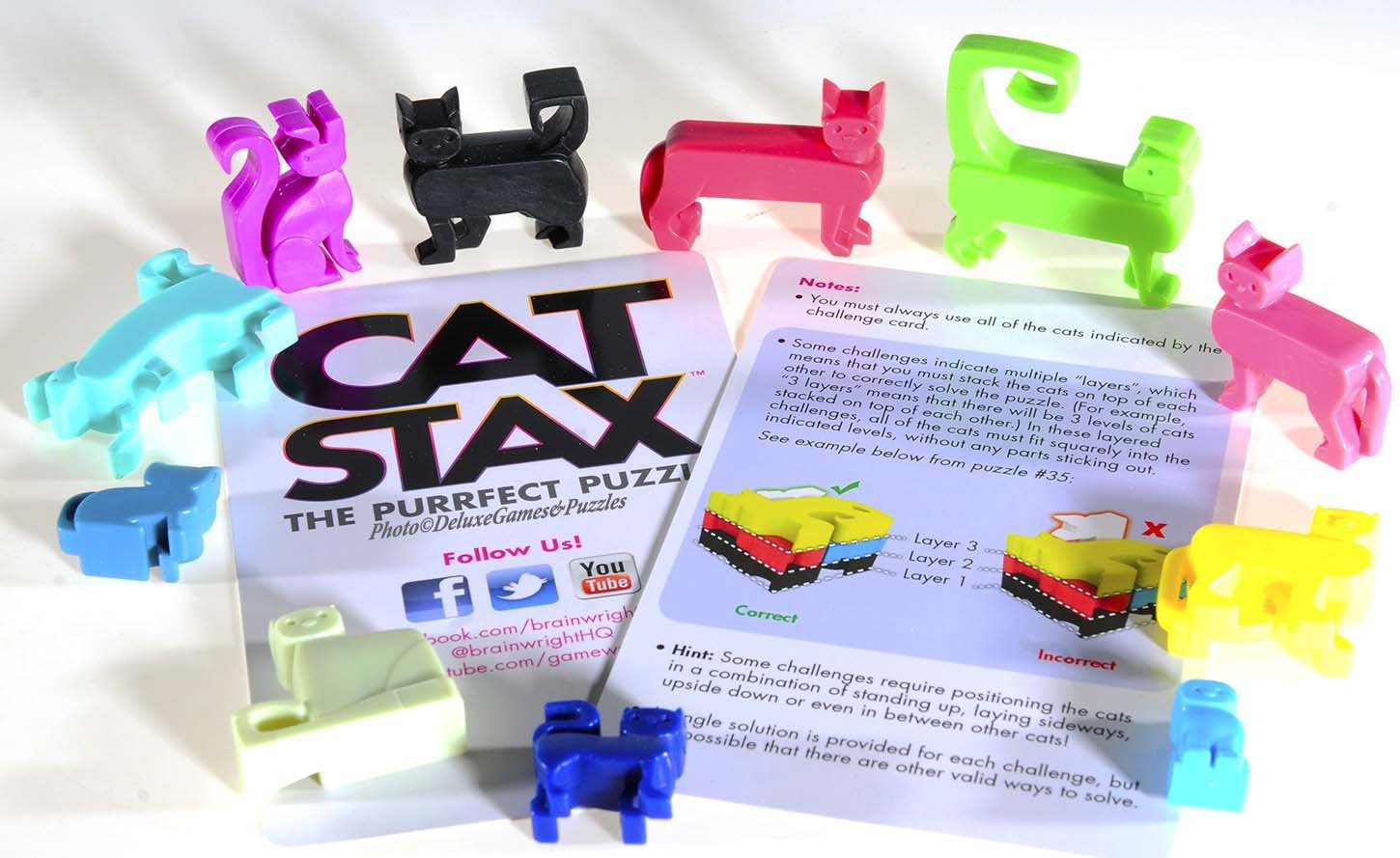 Cat Stax the Purrfect Puzzle /_ with Purple Velveteen Drawstring Pouch