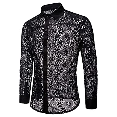 7521b852283f TUDUZ New Men's Autumn Casual Lace Shirts Breathable Full Lace Party  Nightclub Hollow Long Sleeve Formal