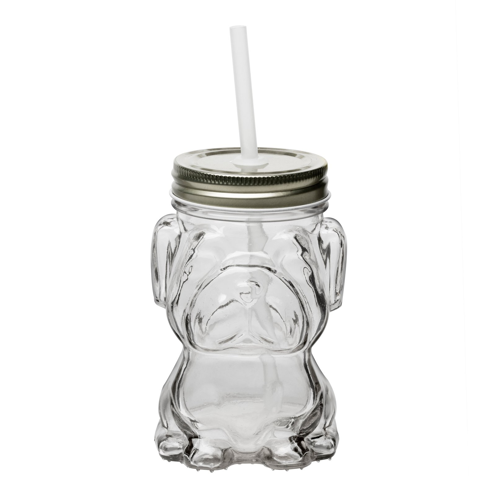 Amici Home, 7CM204SS4R Mad Dog Mason Jar Silver Twist Top Lid, Raised Textured Glass, 14 Ounce Capacity, Set of 4