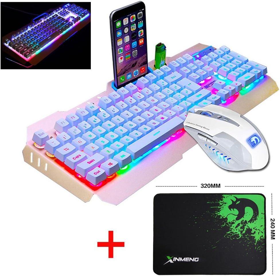 UrChoiceLtd® 2017 Ajazz batalla hacha Colorful Rainbow retroiluminado Multimedia ergonómico USB Gaming Teclado + 2400dpi 6 Botones Gaming Ratón + negro templo alfombrilla de ratón
