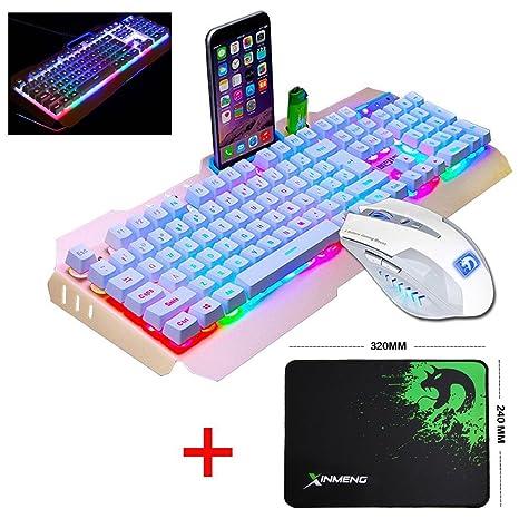 UrChoiceLtd® 2017 Ajazz batalla hacha Colorful Rainbow retroiluminado Multimedia ergonómico USB Gaming Teclado + 2400dpi