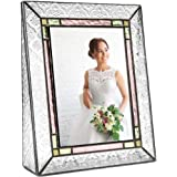 J Devlin Pic 137-57V Vintage Stained Glass Picture Frame Tabletop 5x7 Vertical Photo Frame Colorful Pale Purple Green Amber Family Picture Frame