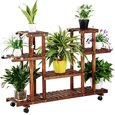 Topeakmart 4-Tier Coner Wood Flower/Plant Stand Shelving Rack Display Shelf Outdoor Yard Garden Patio Balcony Multifunctional Storage Rack Bookshelf Brown : Garden & Outdoor