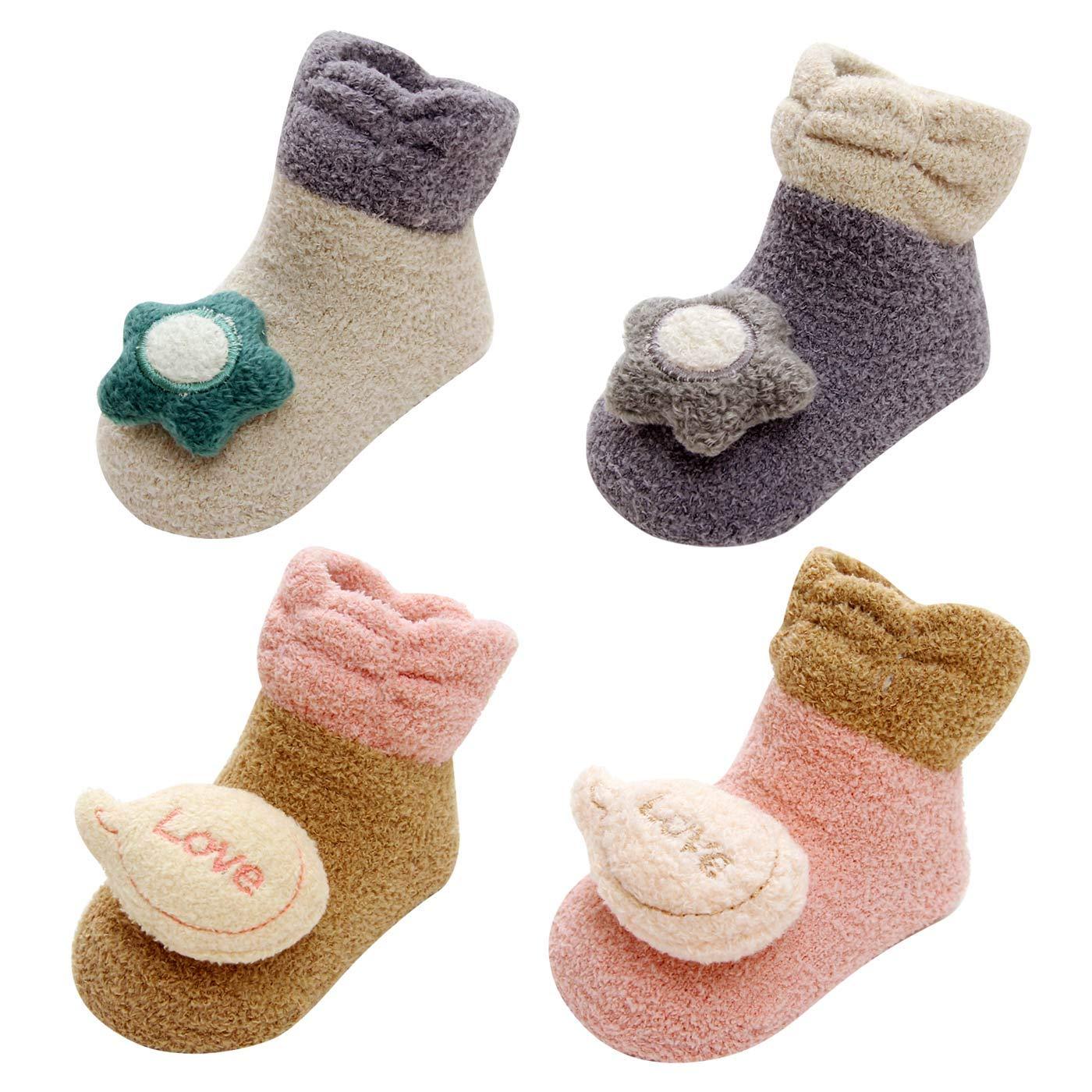 LIUCHENGHANG - Pack de 4 Pares de Calcetines Antideslizantes para Bebé Niños Modelo de Coche Anti-slip Zapatos para Casa Primer Paso con Puntos de Goma Adherentes - Coche - 0-6 Meses