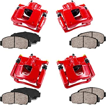 4 Ceramic Brake Pads Kit Callahan CCK01454 FRONT REAR Performance Grade Loaded Powder Coated Red Calipers