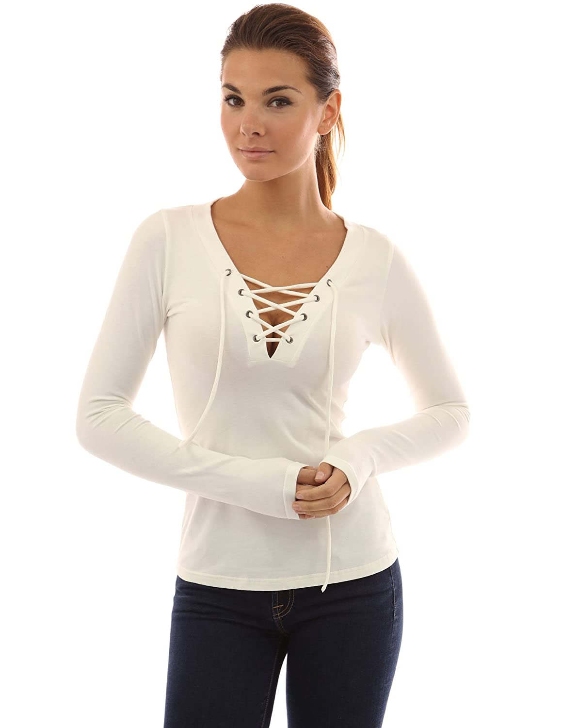 38fc001b4ae PattyBoutik Women's V Neck Lace Up Top at Amazon Women's Clothing store:  Patty Boutique