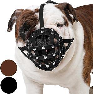 CollarDirect Basket Dog Muzzle for Boxer, English Bulldog, American Bulldog Secure Leather Muzzle