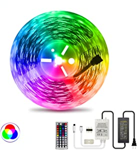LED Strip Light RGB NUOENXUAN Flexible Rope Lights 5050 SMD RGB 480 LEDs Non Waterproof Tape Light with 44 Keys Wireless Remote Control and 24V Power Adapter for Home Kitchen Holiday Deco