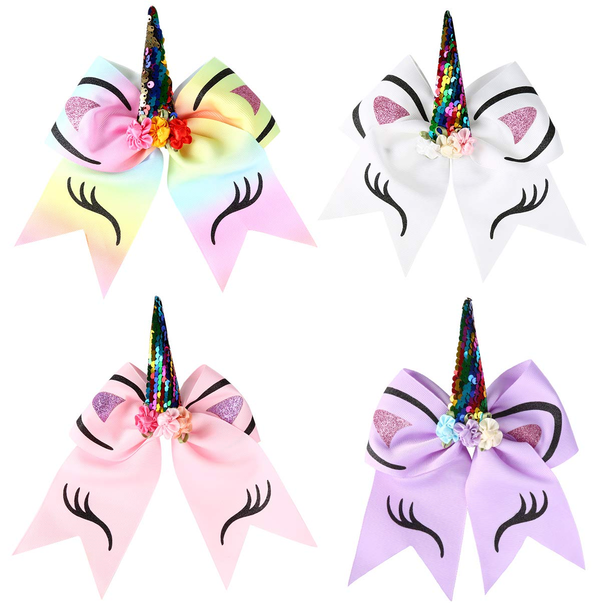 Vbiger Girl's Hair Bow Unicorn Cheer Bows Elastic Headband For Baby Teens Toddlers 4 Pack by VBIGER (Image #2)