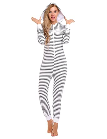 Ekouaer Striped Onesize Jumpsuit Non Footed Pajama One Piece For Women