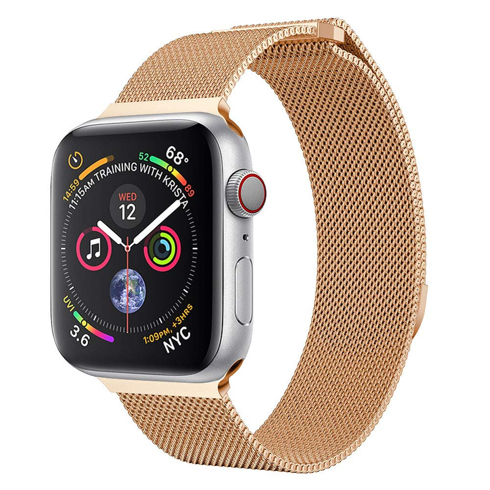 AutumnFall 2018 New Style Milanese Loop Magnetic Watch Band For Apple Watch Series 4 44mm Stainless Steel Strap iwatch Wrist Link Bracelet Belt (Rose Gold)
