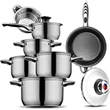 Cookware set Stainless Steel Cookware set 18/10 and 18/8 HOFFMAYRO 13 pieces of anti-hot thermometer Gift Full Set of Pots, saucepan,casserole,steamer frying pan(spray non-stick)for THANKSGIVING DAY