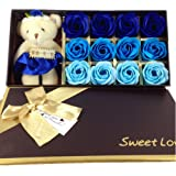 Mr.Pro 12 Flora Scented Bath Soap Rose Flower with Baby Bear Doll, (Preservative Free) Plant Essential Oil Soap, Gift for Anniversary/ Birthday/ Wedding/ Valentine's Day/ Mother's Day (12 Blue)