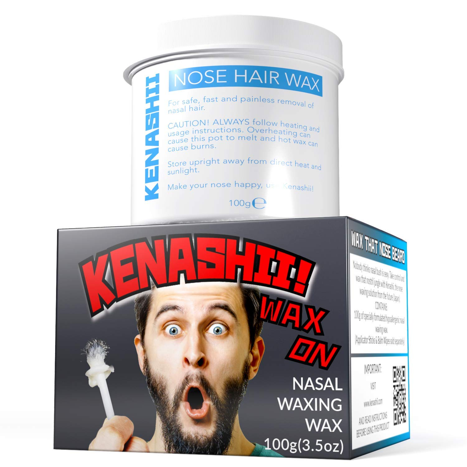 Nose Waxing Wax. 100g. By Kenashii. Wax Only, Applicators and Balm Wipes Sold Separately. New and Improved Nose Hair Waxing Wax. Wax That Nose Beard.