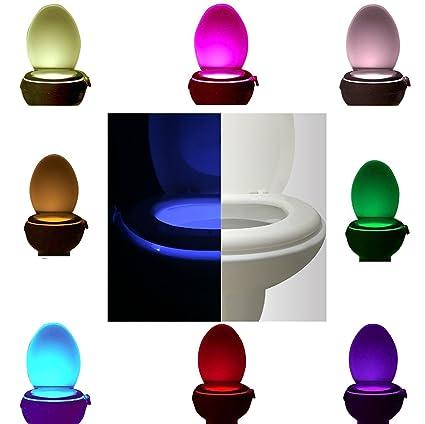 Lámpara para WC con sensor de movimiento, automático, 8 colores