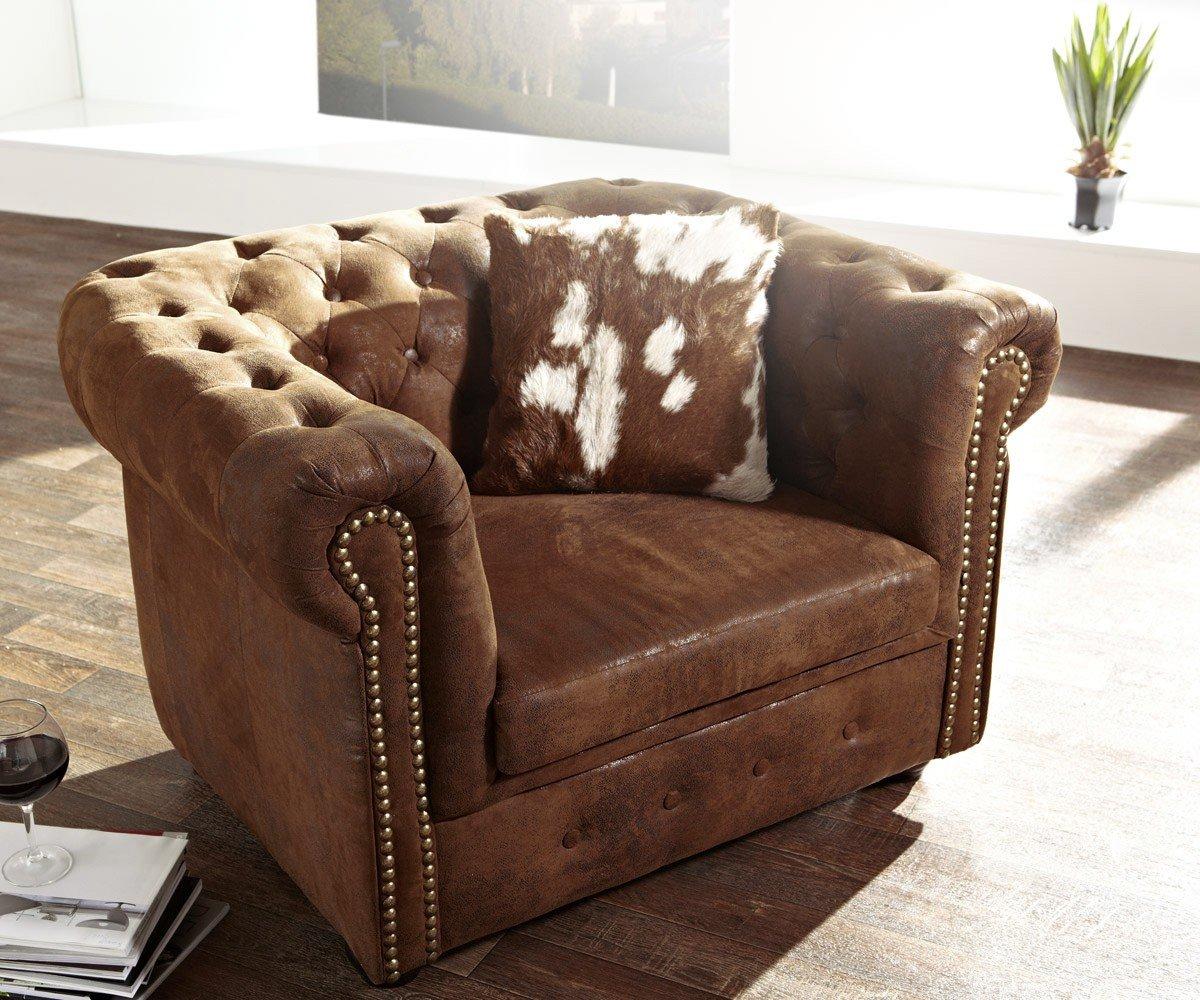 1-Sitzer Chesterfield Braun abgesteppt Antik Optik Sessel