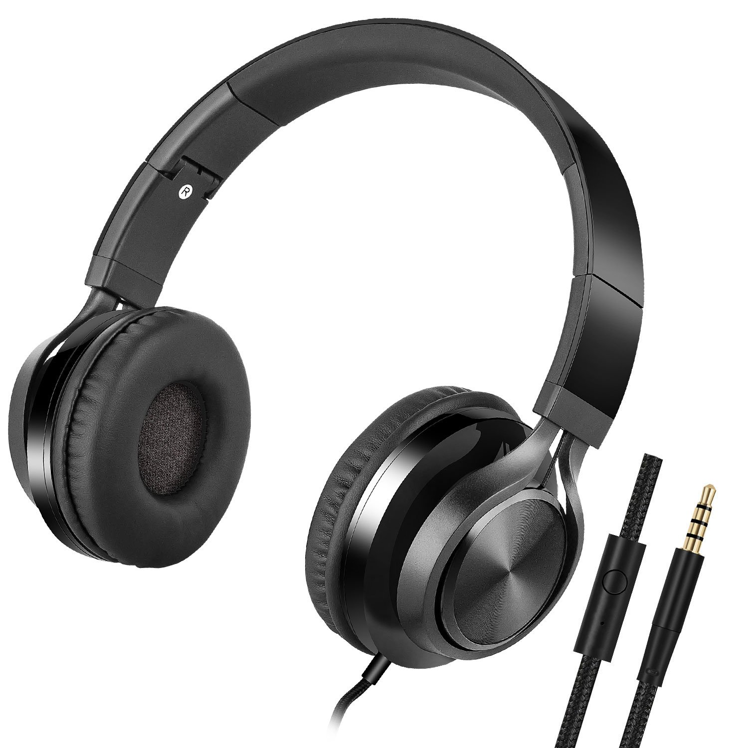 Foldable Computer Headsets, Lightweight Headphones with Microphone and 3.5mm Plug for iPhone,iPod,iPad, Android Smartphones, PC, Laptop, Mp3/mp4, Tablet Macbook (black)