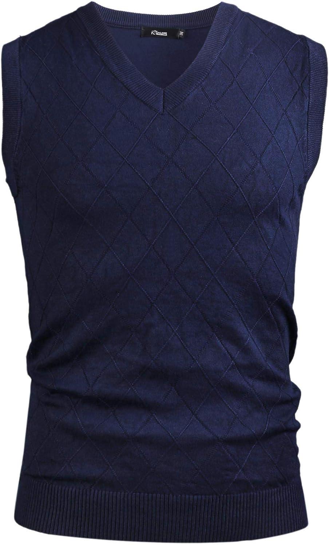 iClosam Mens V-Neck Sleeveless Vest Classic Business Sweater Gilet Knitwear Tank Top
