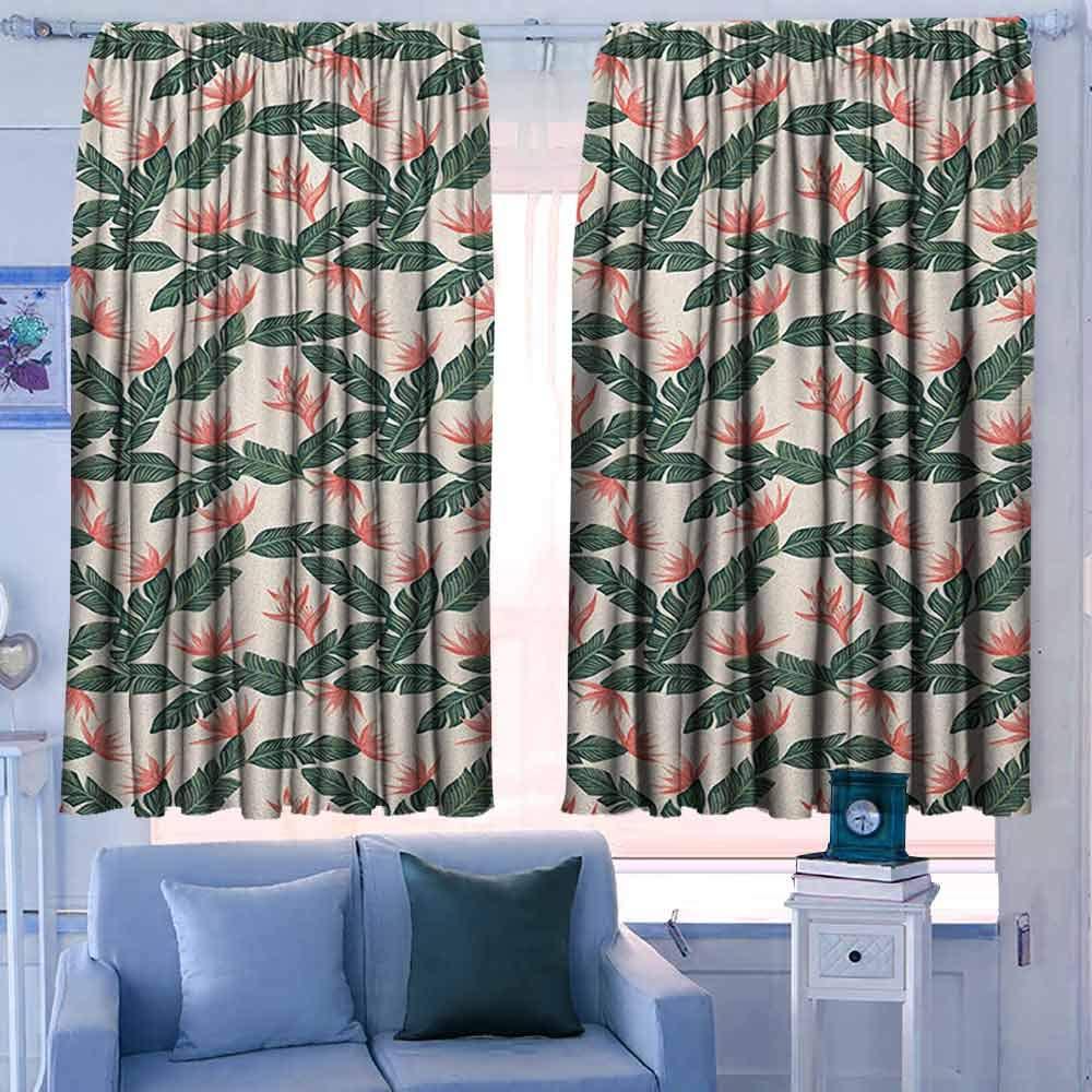 Paradise Bird Flower 3D Blockout Photo Curtain Print Curtains Fabric Kids Window