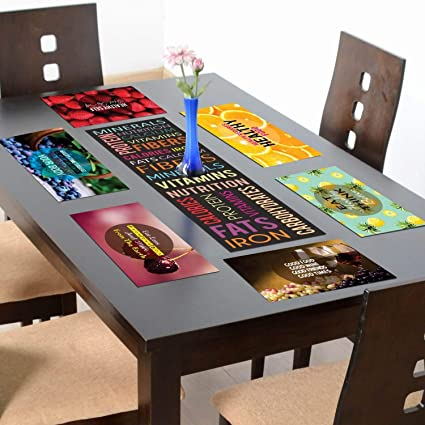 YaYa cafe Healthy Food and Fruits Printed Table Runner with 6 Mats for Dining Table