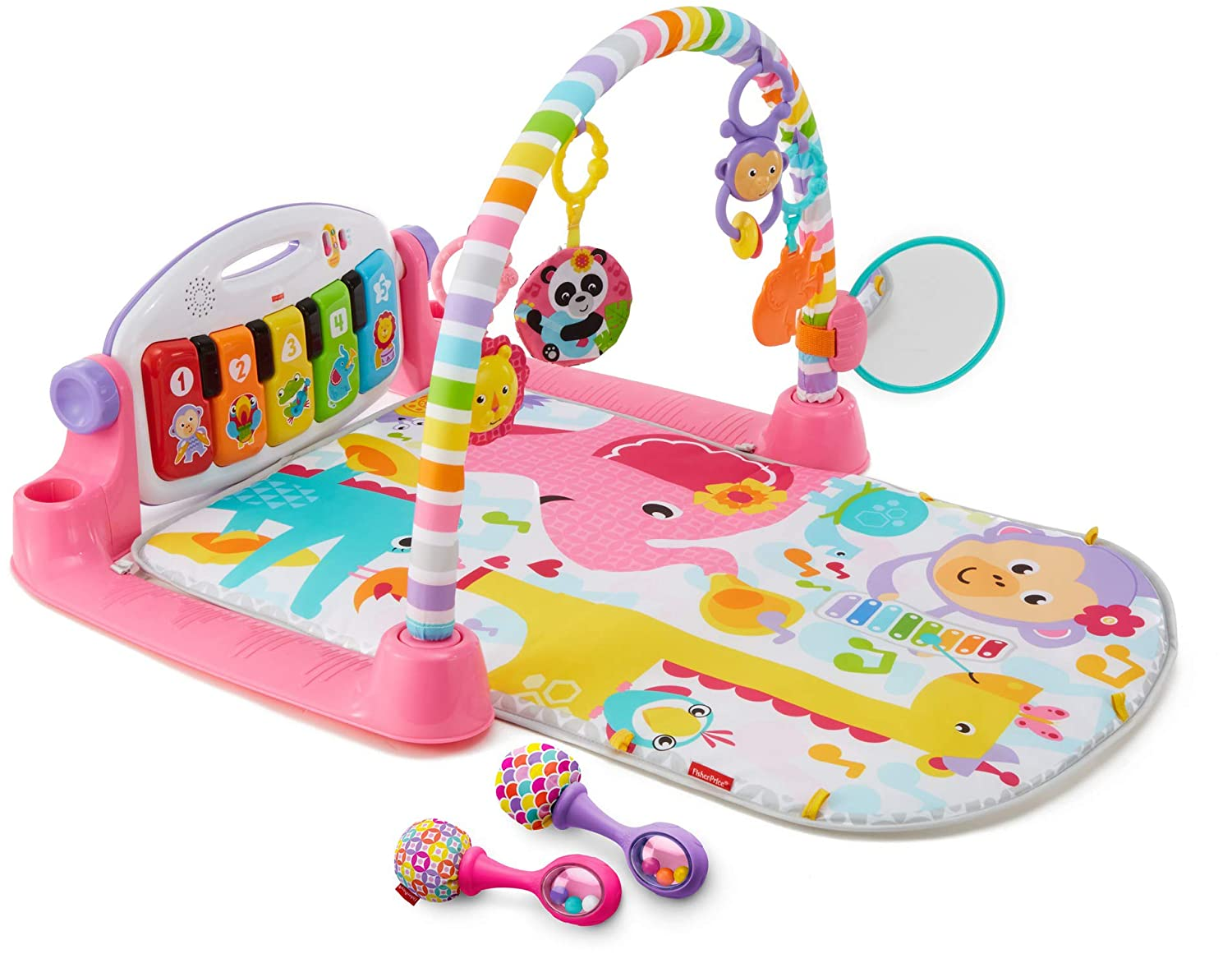Fisher-Price Deluxe Kick 'n Play Piano Gym & Maracas Bundle [ Exclusive]