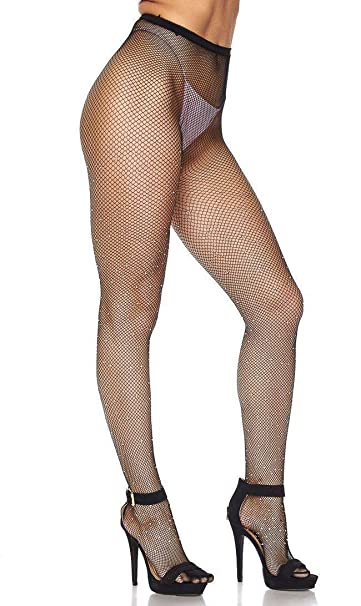 75d287c1368 Image Unavailable. Image not available for. Color  Rhinestone Embellished  Fishnet Pantyhose ...