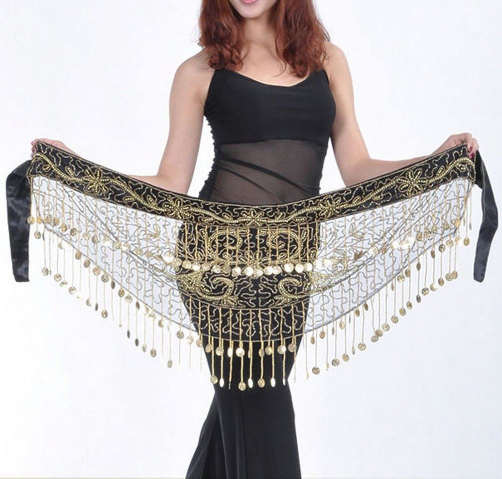 Professional Dance Costume Belly Dance Hip Scarf Waist Chain with Gold Coins CLOHO