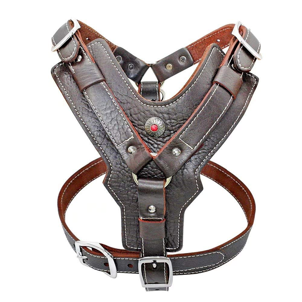 PET ARTIST Leather Large Dog Harness Heavy Duty Vest Thick Soft for Big Dogs Boxer Pitbull Rottweiler Bull Mastiff, Brown Chest:33.5-44.0''