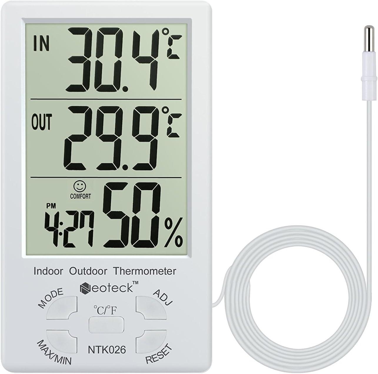 Neoteck Termómetro Higrómetro LCD Digital Interior Higrómetro Interior y Exterior Termómetro Medidor de Temperatura Valor Mínimo/Máximo para la Gestión del Aire Hotel Oficina Laboratorio Hospitalario