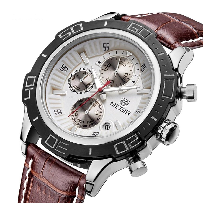 3D GlÄnzend ZifferblÄtter Chronograph Quarz Luxus Echt Leder Edelstahl Band Herren Armbanduhren Uhr Herren