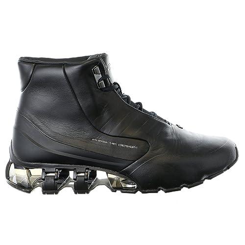 Porsche Design Bounce S3 Mid Leather Fashion Sneaker Boot Running Shoe -  Black - Mens - c6bfc08e0