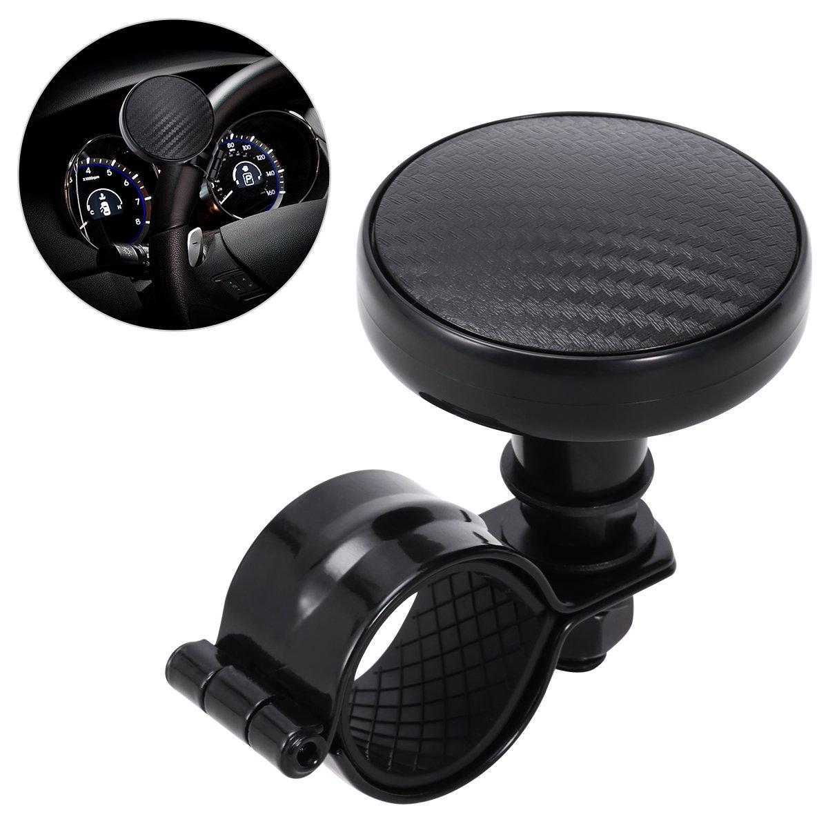 Vorcool - Pomo giratorio para volante, color negro, accesorio de esfera auxiliar para coche Z4R1VUK1237I0G551JMMBHB8
