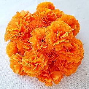Marigold Flower Heads Bulk 30Pcs, Silk Artificial Flowers for DIY Wedding Party Deor 5cm(Orange)
