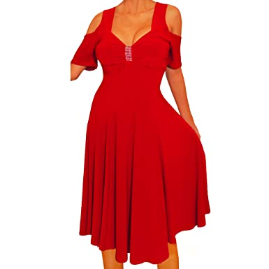 d724519bf1 Funfash HS2 Plus Size Women Open Cold Shoulders Red Cocktail Cruise Dress 2X